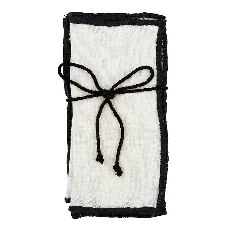Ivory Linen Napkins with Black Stitching (Set of 4)