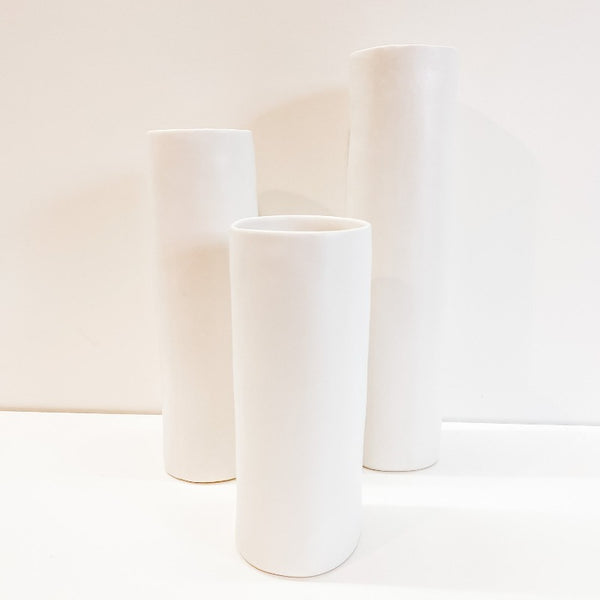 Tall Matte White Cylinder Vase (3 Sizes)
