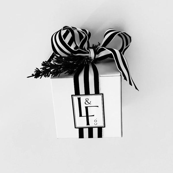 L&F Signature Boxed Candle with Black & White Stripe Bow