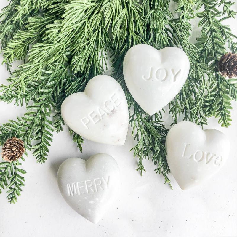 "3"" Marble Heart-Holiday Words"