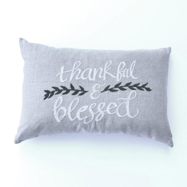 "Thankful & Blessed Pillow- 16x24"" Lumbar"