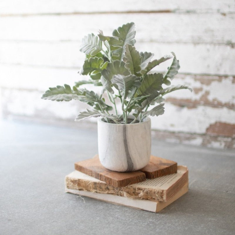 "13"" Plant in Faux Marble Pot"