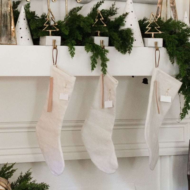 Linen Stocking with Leather Holiday Sentiment Tag (3 Styles)
