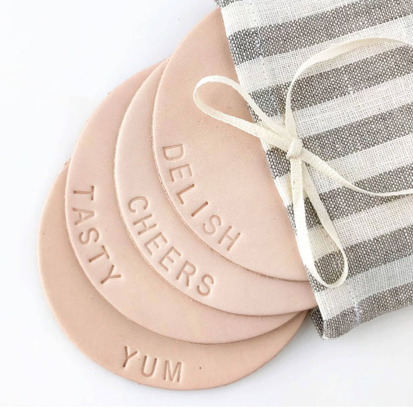 Word Embossed Leather Coasters (Set of 4)