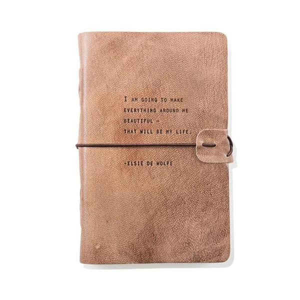 Blush Leather Journal- Elsie De Wolfe Quote