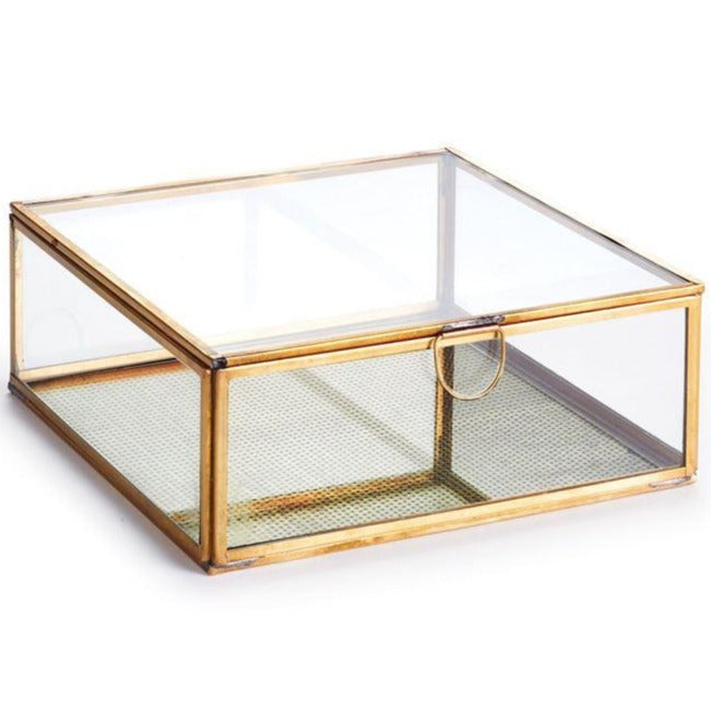 Glass & Brass Arwen Display Box- 8x8x3