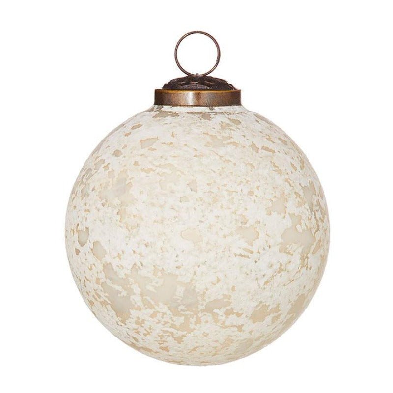 White Antique Ball Ornament (2 Sizes)