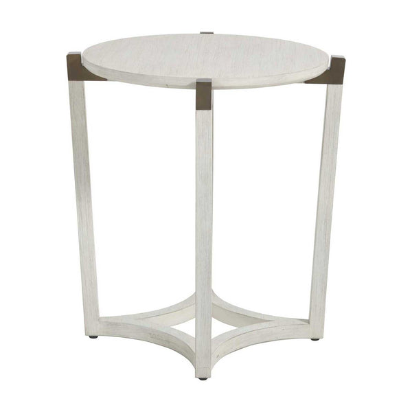 White Wood & Bronze Diamond Base Table  W22.75 x D22.75 x H24.25