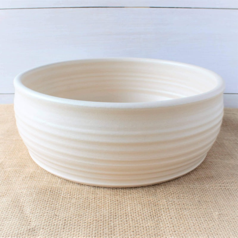White Ridged Serving Bowl