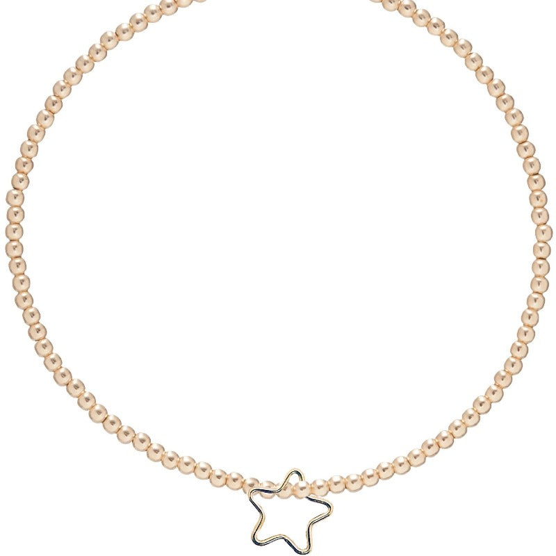 Classic Gold 2mm Bead Bracelet- Star Gold Charm