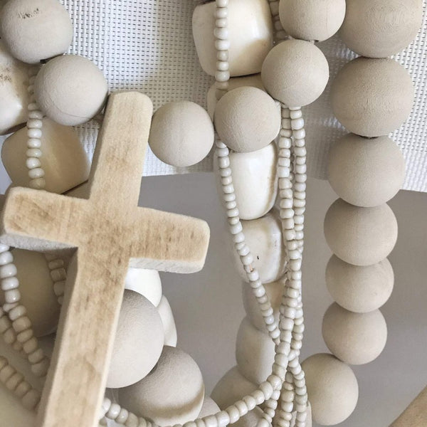 "12"" Stone Mini Beads with Wood Cross"