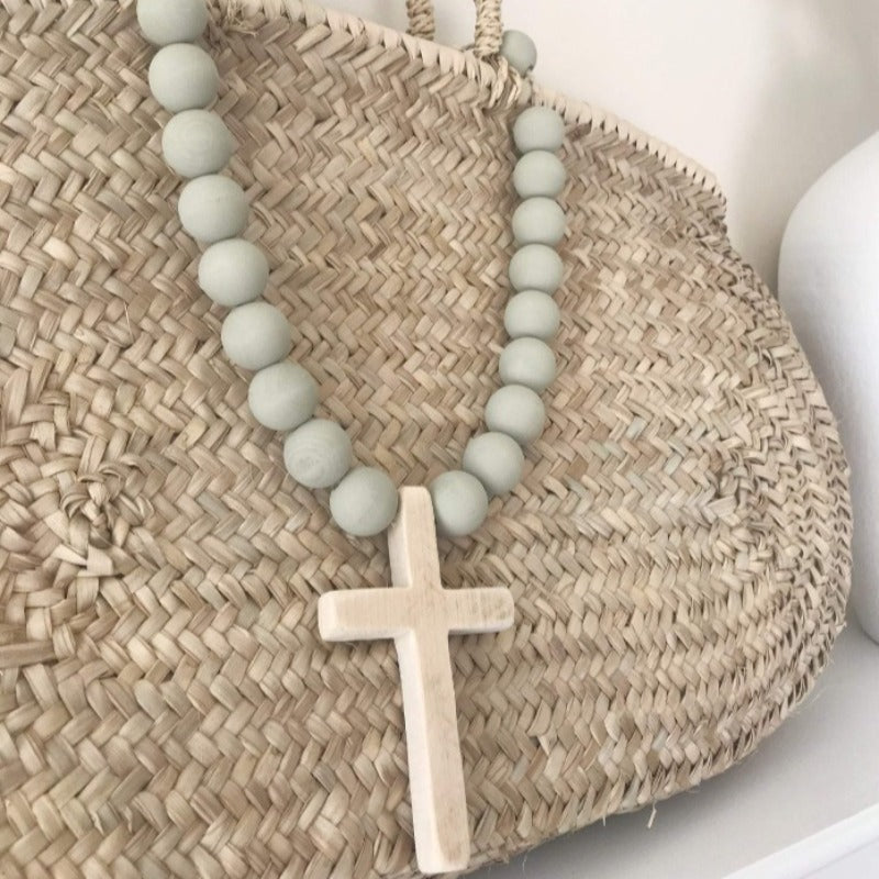 Surf Blue Original Beads with Wood Cross