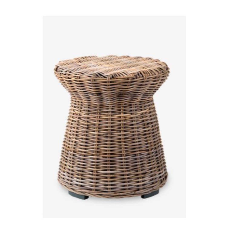 "Set of 2- Round Driftwood Rattan Side Tables- 20x22"" (Available in 2 colors) DS Only"