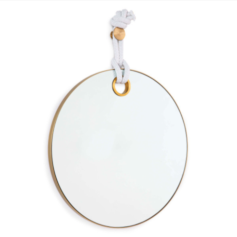 "Round Brass Mirror with White Hanging Rope  33""H x 24"" W x 1""D"