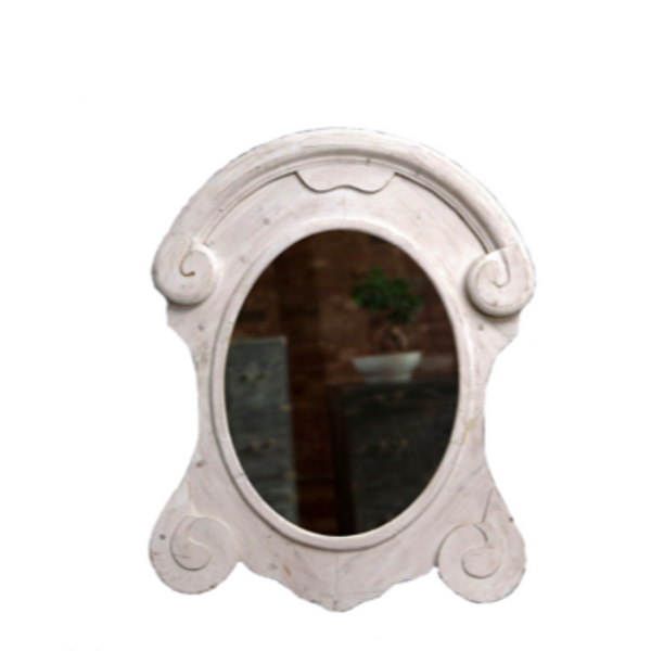 "XL White Recycled Mansard Mirror 48"" x 38.5"" x 4.75"""