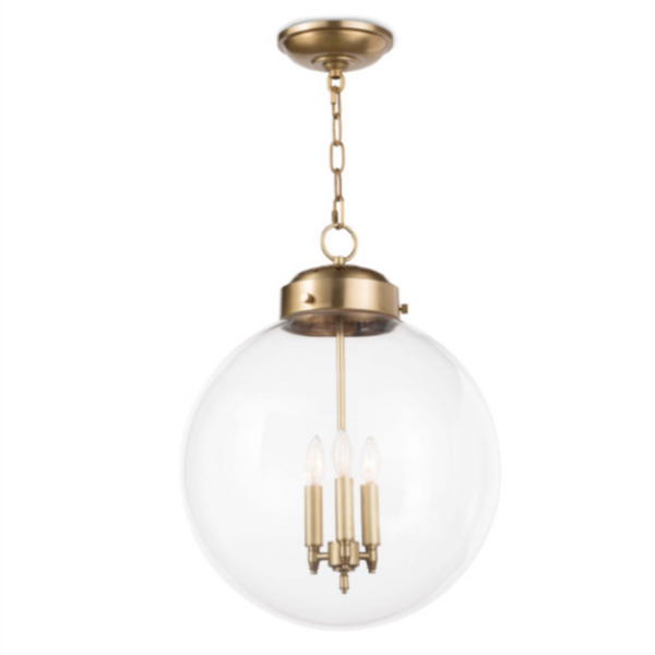 "Glass and Brass Globe Pendant Light 22.5""Hx15""W"