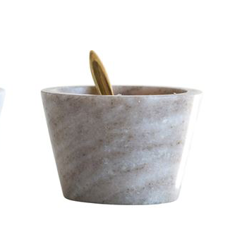 "3"" Marble Dip Bowl with Brass Spoon"