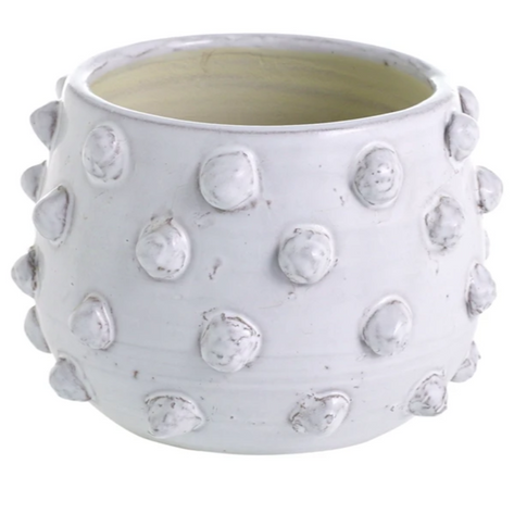 Large White Ceramic Dot Candle
