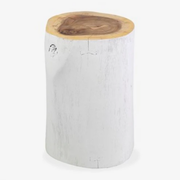 "White Painted Wood Stump Side Table 12w"" x 18h"""