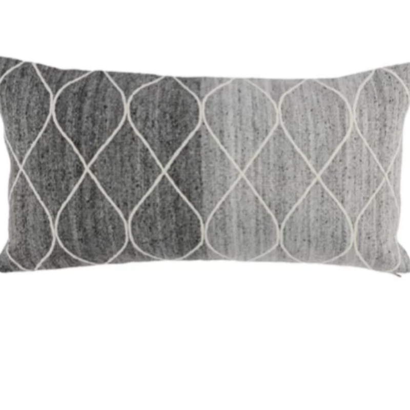 "14""x26"" Grey/Ivory Lumbar Pillow"