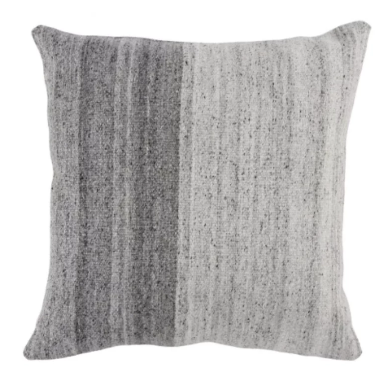 "22""x22"" Gray/Ivory Gradient Pillow"