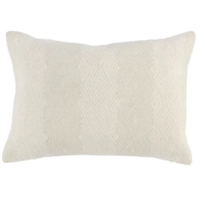 "14""x20"" Ivory Diamond Embroidered Pillow"