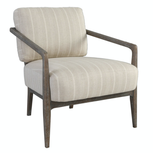 Classic Striped Linen Wooden Accent Armchair   28w X 31d X 31h