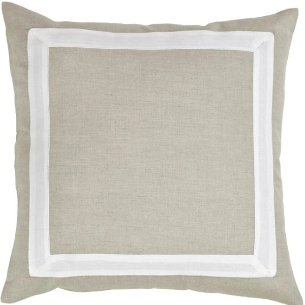 "20x20"" Natural Linen Cotton Pillow- White Border"