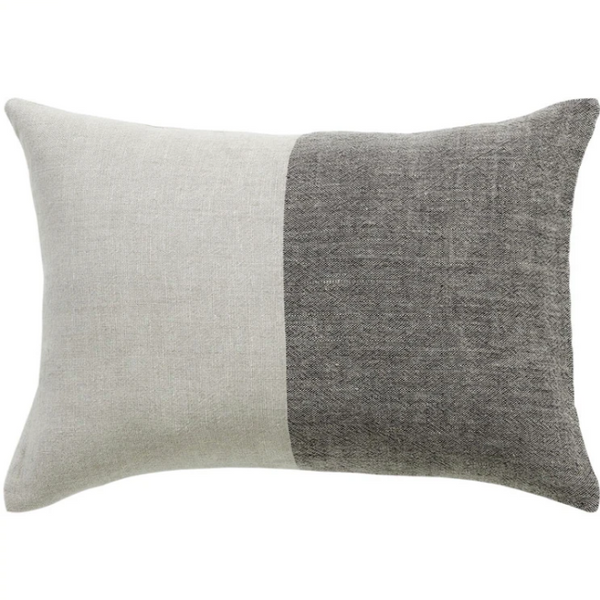 Pure Linen Dyed Stripe Lumbar Pillow 14'x20""