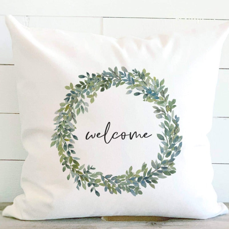 18x18 Welcome Watercolor Wreath Canvas Pillow