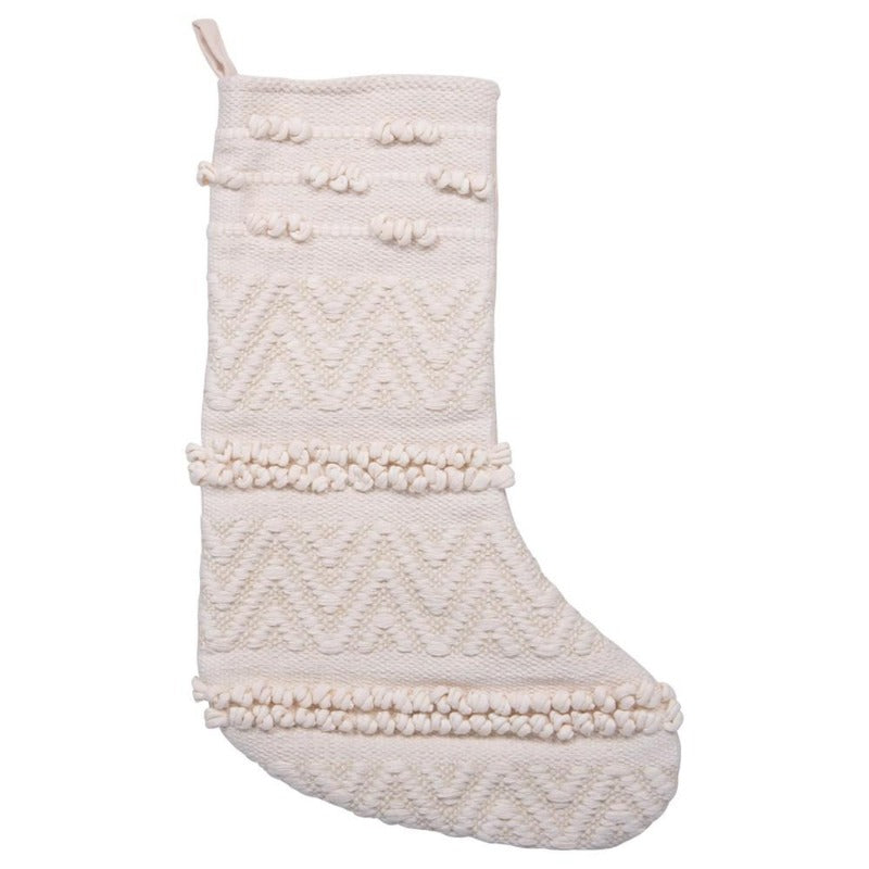 "12"" Cream Woven & Knotted Stocking"