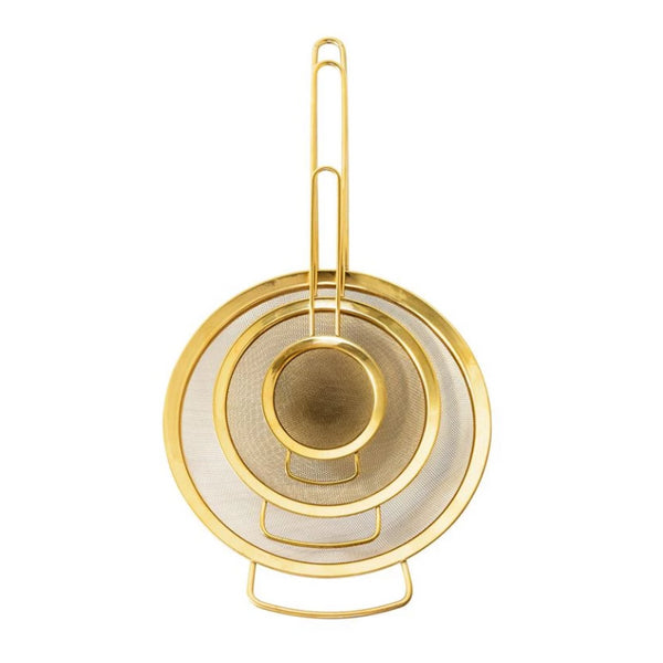"15.75"" Set of 3 Gold Strainers"