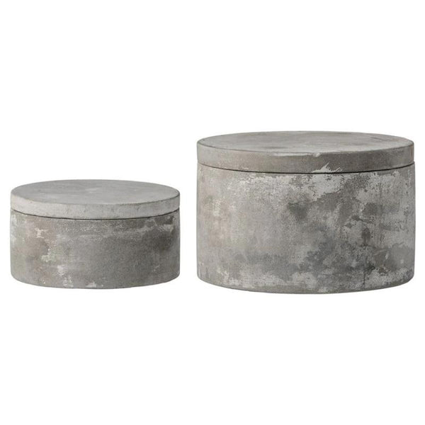 Round Grey Cement Box with Lid