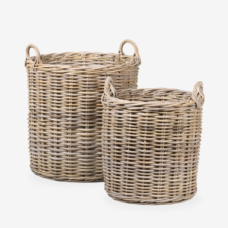 Grey Round Rattan Baskets in Small and Large (Set of 2)- DS Only