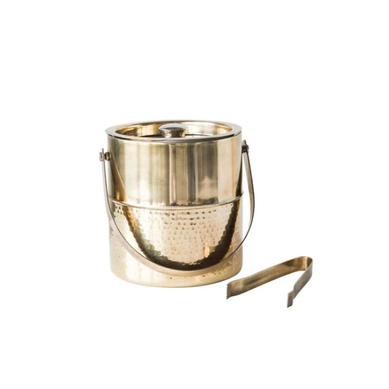 Gold Ice Bucket with Tongs- 7x7""