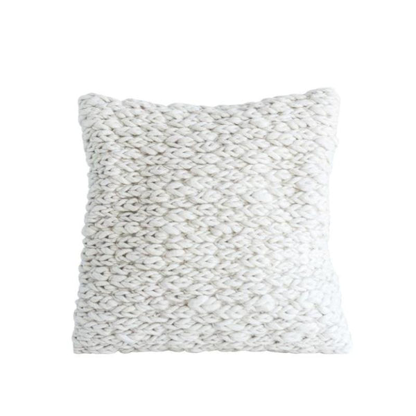 "20"" Wool Cable Knit Pillow- Cream"
