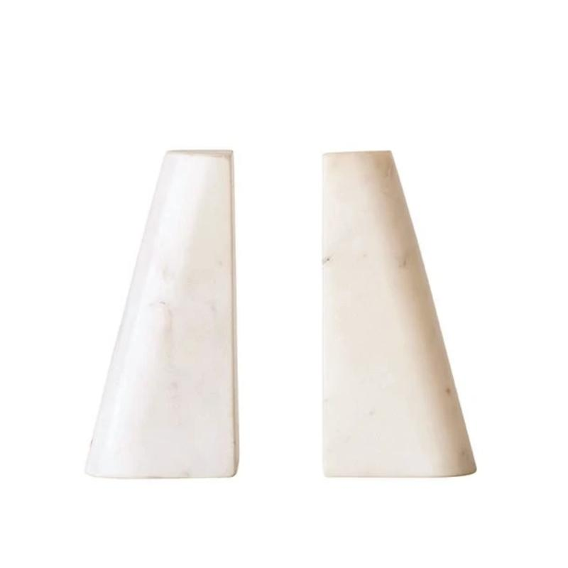 White Marble Bookends- Set of 2
