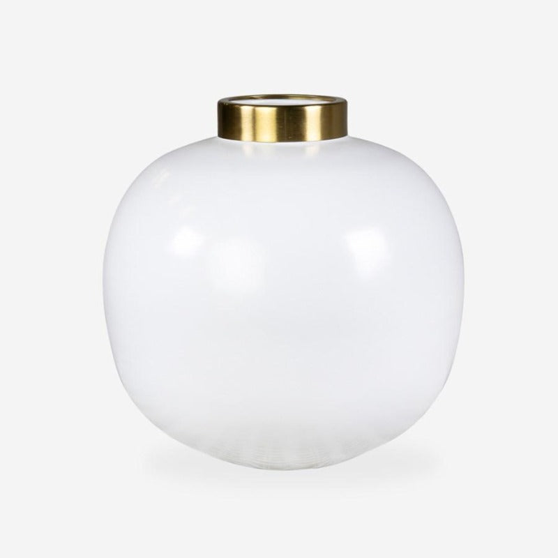 "10"" Matte White Round Vase with Brass Neck (Set of 2) DS Only"