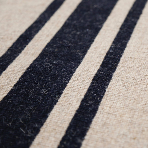 Handwoven Wool/Jute Rug- Natural with Black Stripe