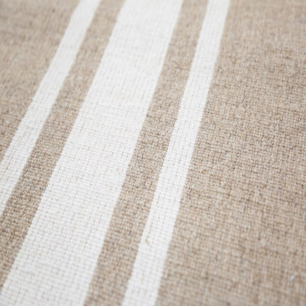 Handwoven Wool/Jute Rug- Natural with Ivory Stripe