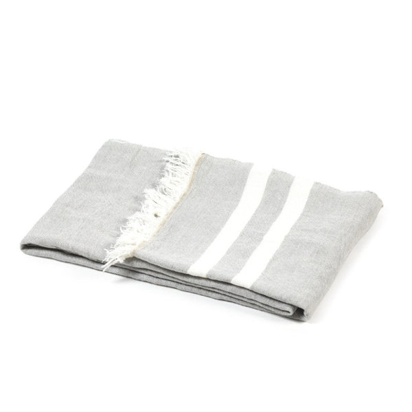 "43x71"" 100% Belgian Linen Towel Throw-Grey Stripe"