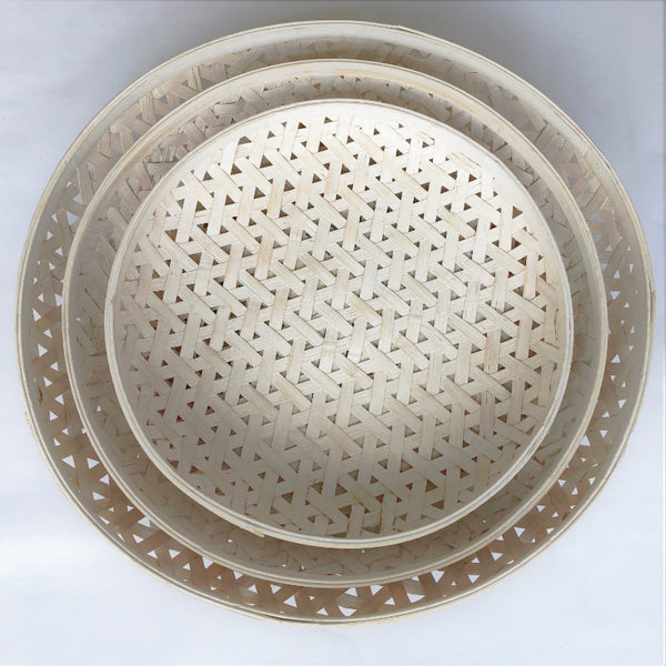 Light Round Woven Tray