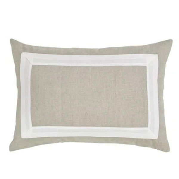 "Lumbar Natural Linen Cotton Pillow w/ White Border- 14""x20"""