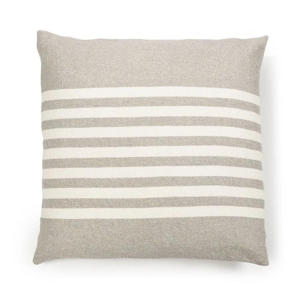 "25"" Stripe Linen Blend Pillow- Flax & Oyster"