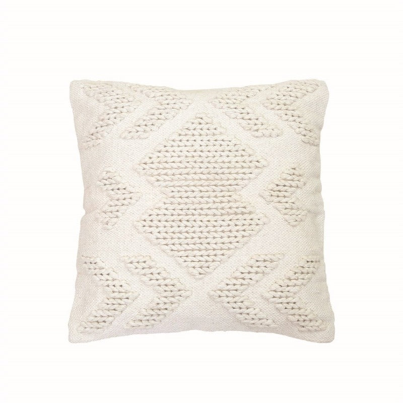 White Hand Woven Geometric Pillow