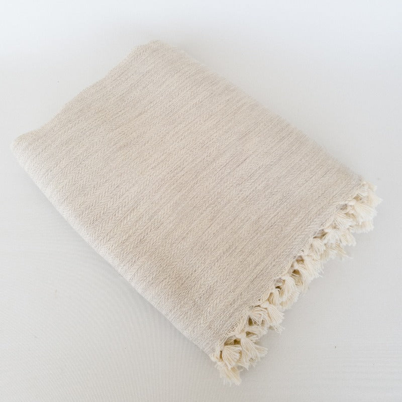Cream Turkish Cotton Throw