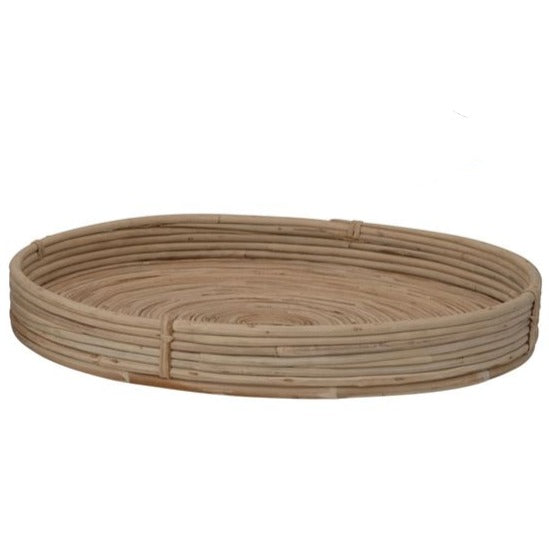 Round Hand-Woven Cane Tray (3 Sizes)