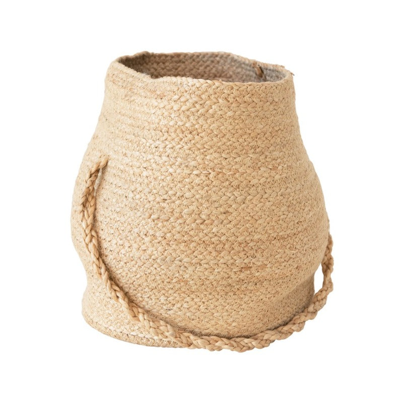"Round Jute Basket with Handle (10""w x 12""h)"