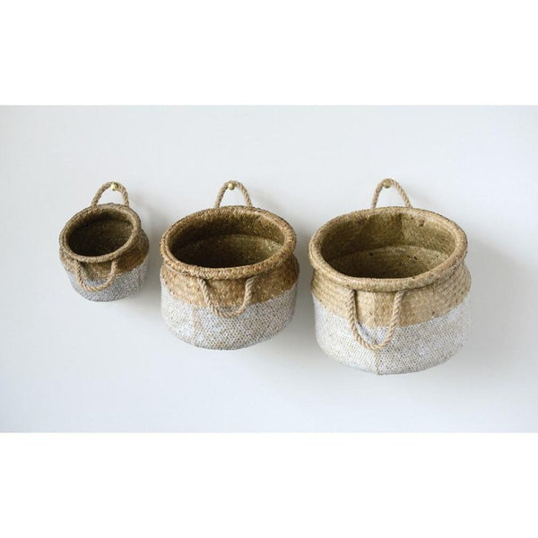 Natural & White Seagrass Basket with Rope Handles