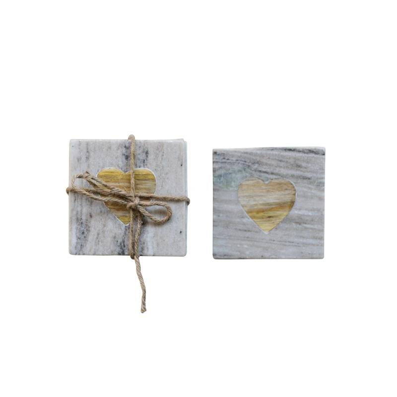 Square Grey Marble Coaster with Wood Heart Inset